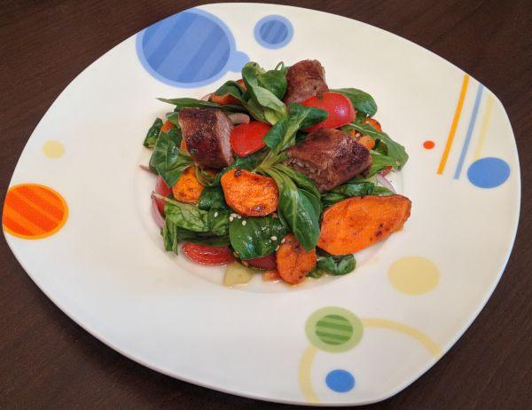 Salata cu carnat si cartofi dulci, cu nutritionist Roxana Ciocaltea, Nutritie cu Roxi